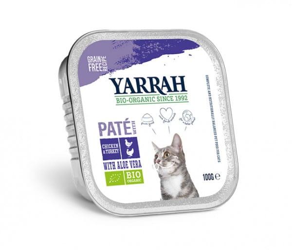 Yarrah Paté Multi-Pack Huhn/Truthahn mit Aloe Vera für Katzen