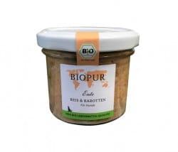Biopur Ente, Reis & Karotten im Glas für Hunde