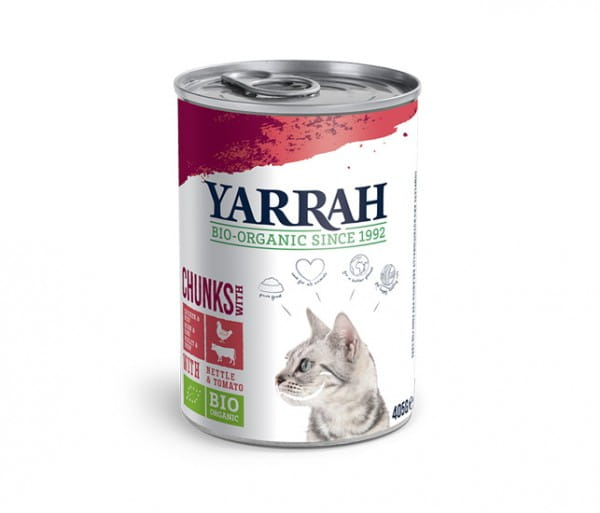 Bio Nassfutter Katzenfutter Yarrah Huhn & Rind 400g Alleinfutter