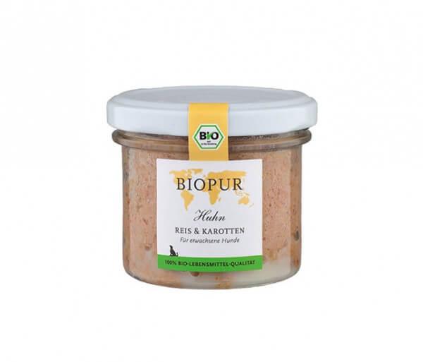 Biopur Huhn, Reis & Karotten im Glas