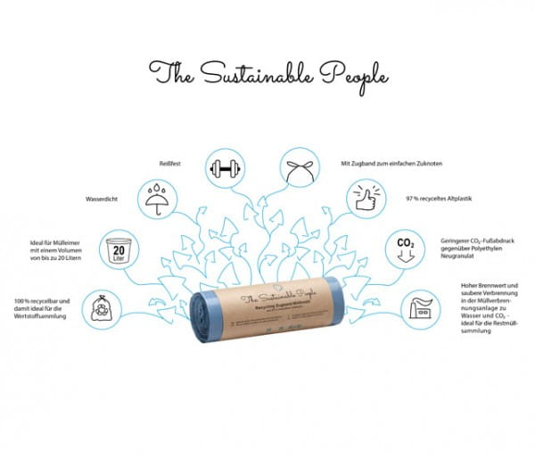 The Sustainable People Recycling Zugband-Müllbeutel, 20 Liter